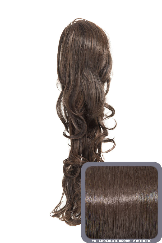 "22"" Volume Boost Clip-in Synthetic Ponytail in Chocolate Brown #6"