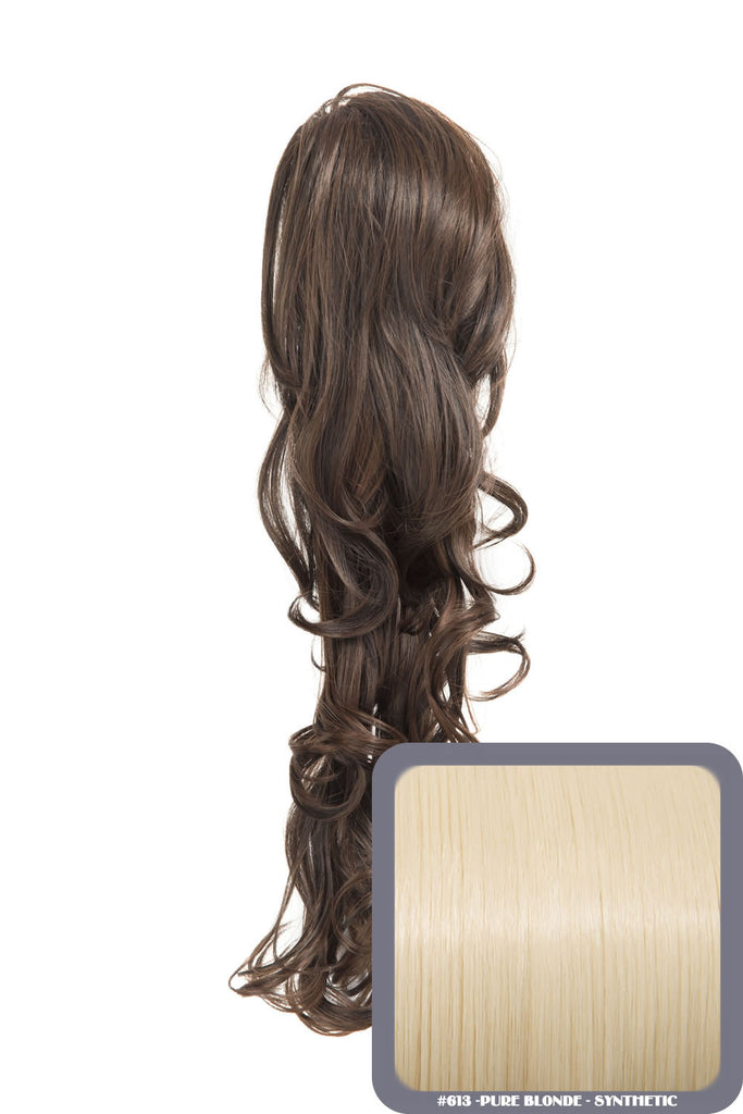 "22"" Volume Boost Clip-in Synthetic Ponytail in Pure Blonde #613"