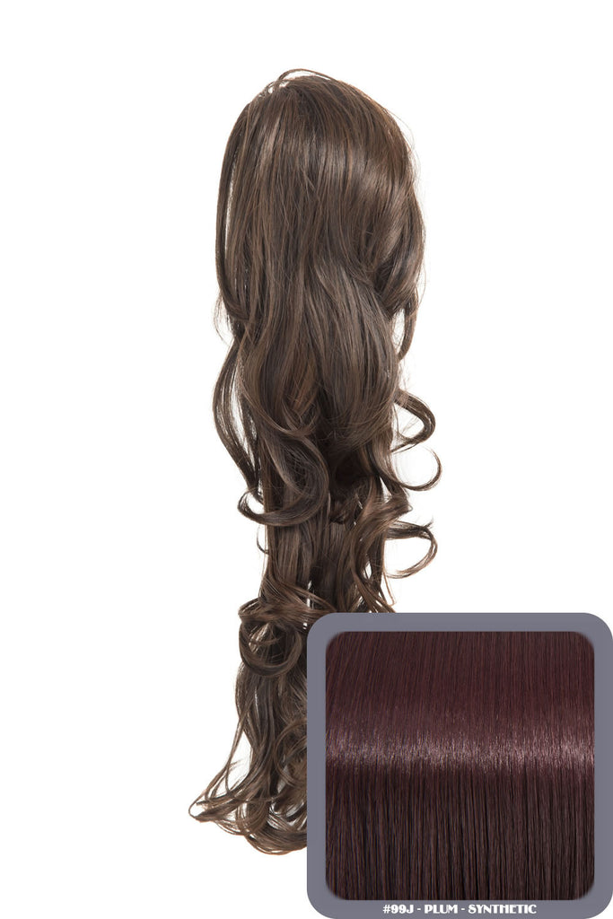 "22"" Volume Boost Clip-in Synthetic Ponytail in Plum #99J"