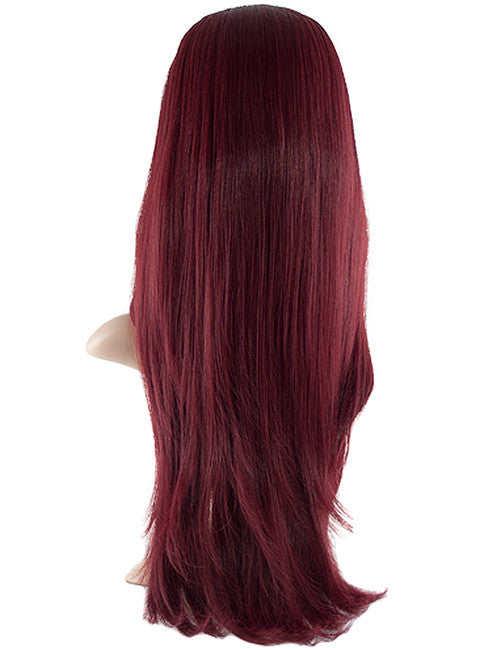 Chloe Long Natural Wavy Synthetic Half Head Wig in Burgundy #118