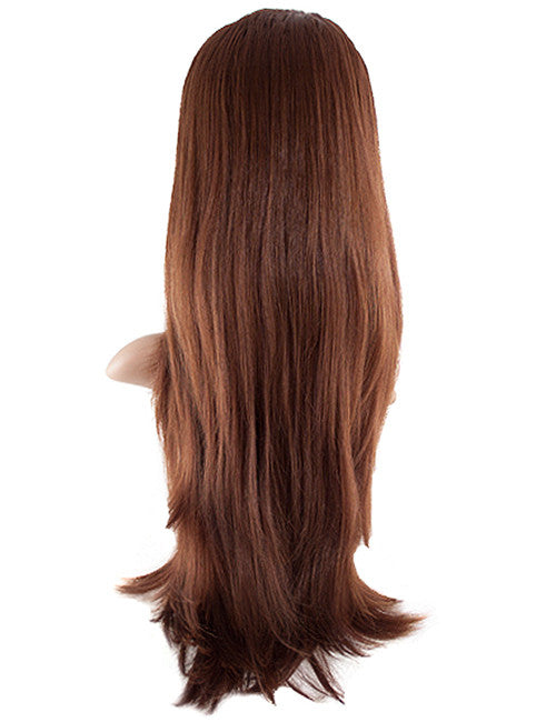 Chloe Long Natural Wavy Synthetic Half Head Wig in Dark Brown #4