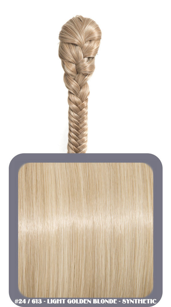 "20"" Fishtail Plait Clip-In Synthetic Ponytail in #24/613 - Light Golden Blonde"