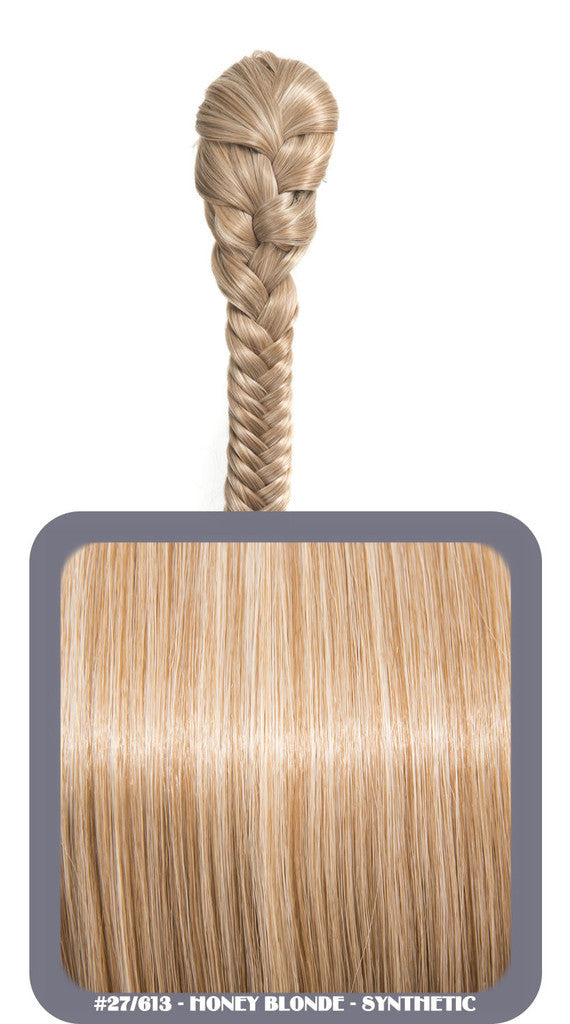 "20"" Fishtail Plait Clip-In Synthetic Ponytail in #27/613 - Honey Blonde"