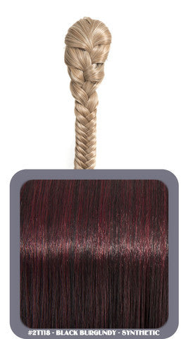 "20"" Fishtail Plait Clip-In Synthetic Ponytail in #2T118 - Black & Burgundy"