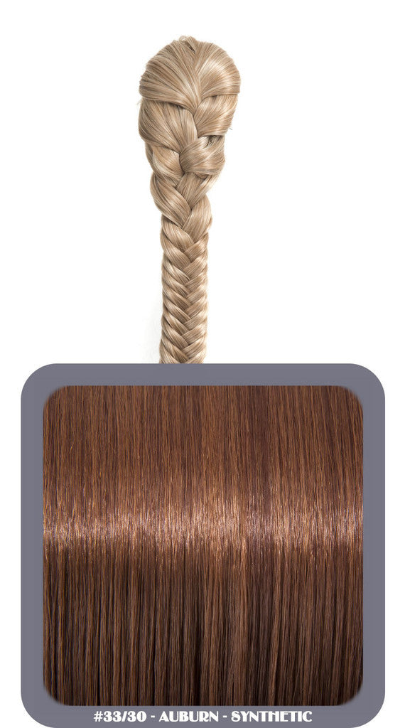 "20"" Fishtail Plait Clip-In Synthetic Ponytail in #33/30 - Auburn"