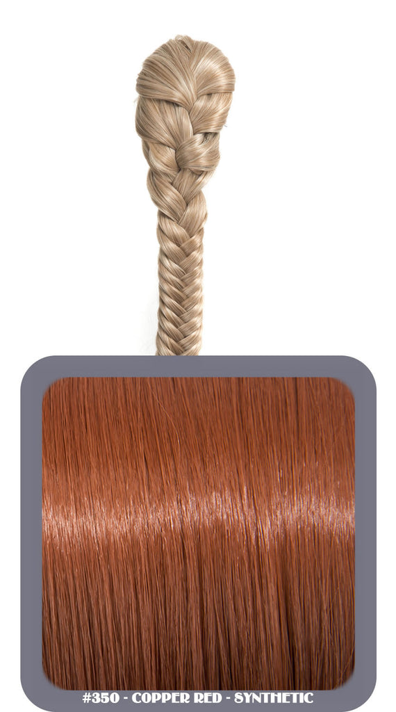 "20"" Fishtail Plait Clip-In Synthetic Ponytail in #350 - Copper Red"