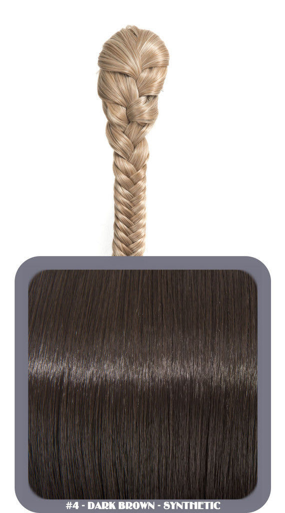 "20"" Fishtail Plait Clip-In Synthetic Ponytail in #4 - Dark Brown"