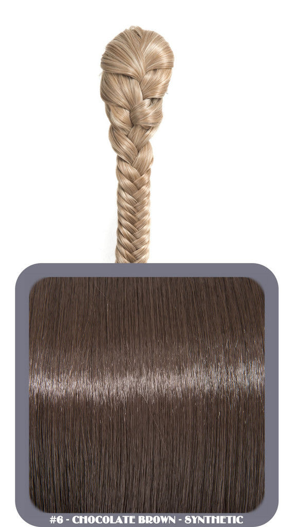 "20"" Fishtail Plait Clip-In Synthetic Ponytail in #6 - Chocolate Brown"