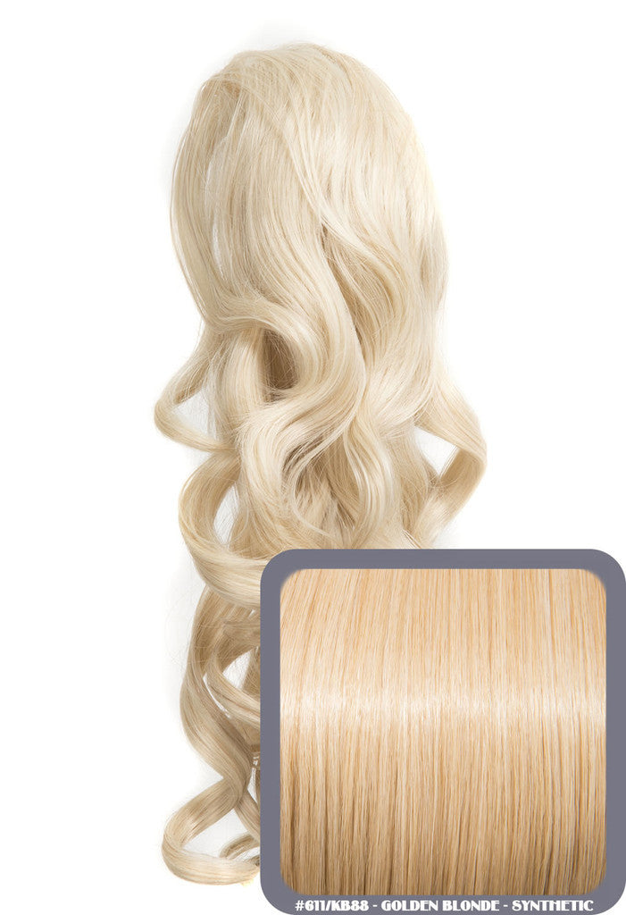 "Blossom 18"" Long Thick Curly Clip-in Synthetic Ponytail in #611KB88 - Golden Blonde"