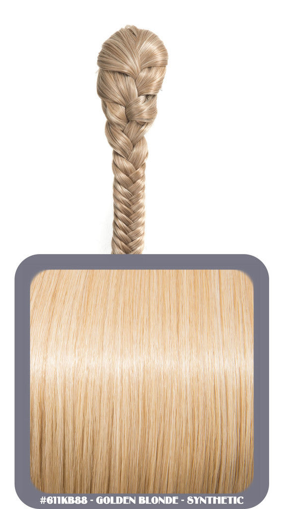 "20"" Fishtail Plait Clip-In Synthetic Ponytail in #611KB88 - Golden Blonde"