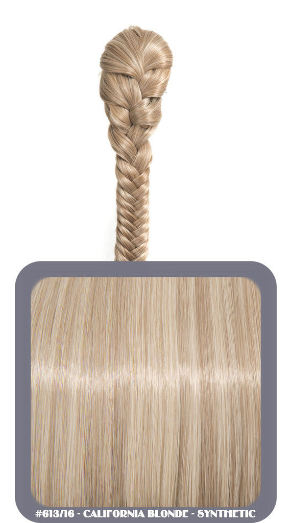 "20"" Fishtail Plait Clip-In Synthetic Ponytail in #613/16 - California Blonde"