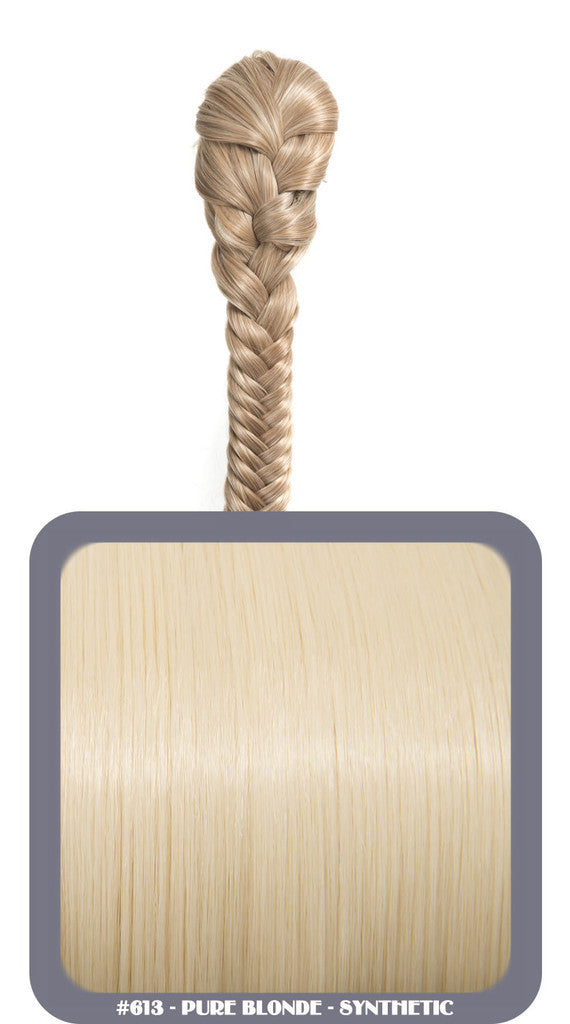 "20"" Fishtail Plait Clip-In Synthetic Ponytail in #613 - Pure Blonde"