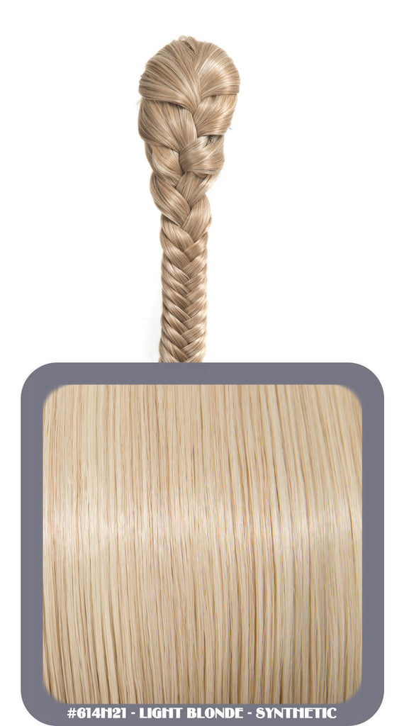 "20"" Fishtail Plait Clip-In Synthetic Ponytail in #614H21 - Light Blonde"
