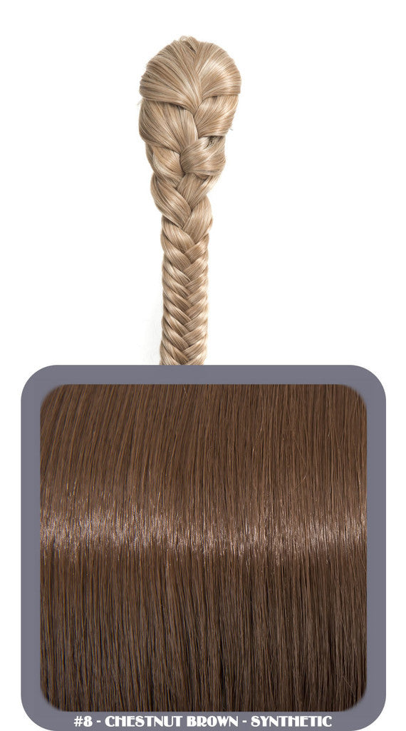 "20"" Fishtail Plait Clip-In Synthetic Ponytail in #8 - Chestnut Brown"