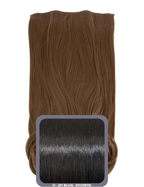 One Piece Curly Heat Resistant Synthetic Hair Extension Jet Black (#1)