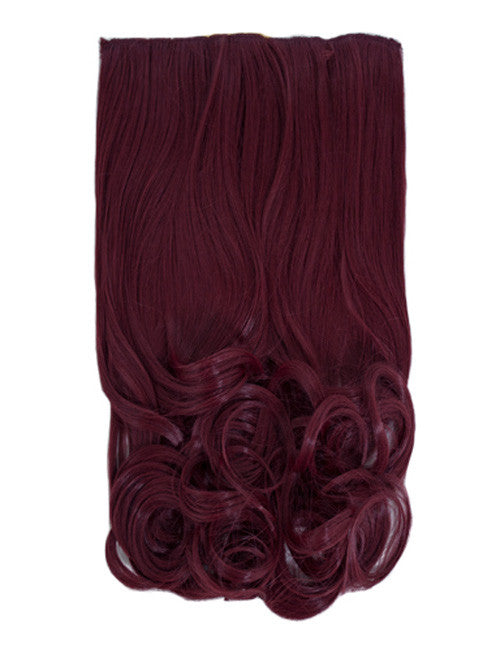 One Piece Curly Heat Resistant Synthetic Hair Extension Plum (#99J)