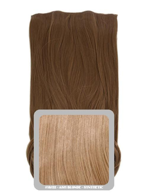 One Piece Straight Heat Resistant 24 Inch Synthetic Hair Extension Ash Blonde (#18/22)