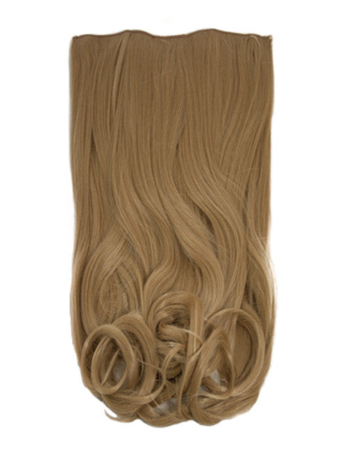 One Piece Curly Heat Resistant Synthetic Hair Extension Caramel Blonde (#18/24)