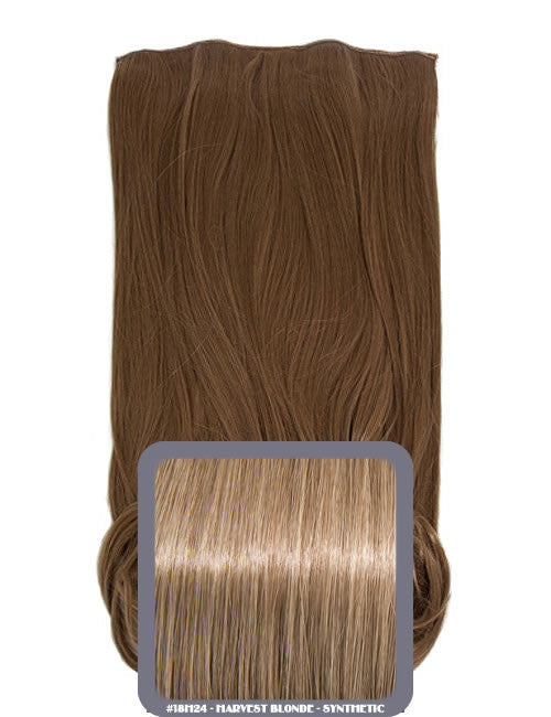One Piece Curly Heat Resistant Synthetic Hair Extension Harvest Blonde (#18H24)