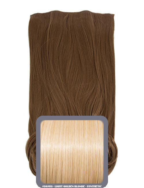 One Piece Curly Heat Resistant Synthetic Hair Extension Light Golden Blonde (#24/613)