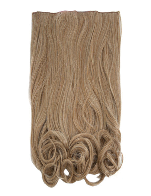 One Piece Curly Heat Resistant Synthetic Hair Extension Honey Blonde (#27/613)