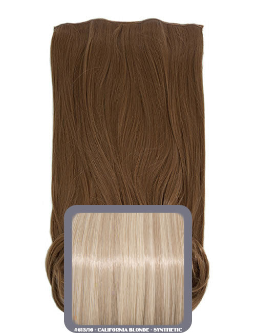 One Piece Curly Heat Resistant Synthetic Hair Extension California Blonde (#613/16)