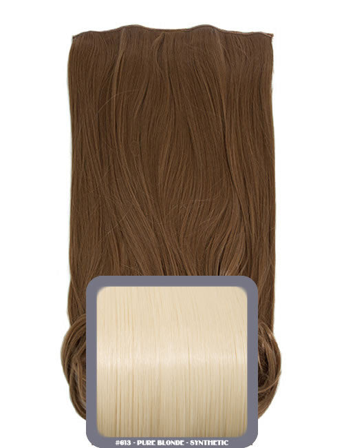 One Piece Curly Heat Resistant Synthetic Hair Extension Pure Blonde (#613)