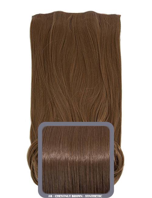 One Piece Curly Heat Resistant Synthetic Hair Extension Chestnut Brown (#8)