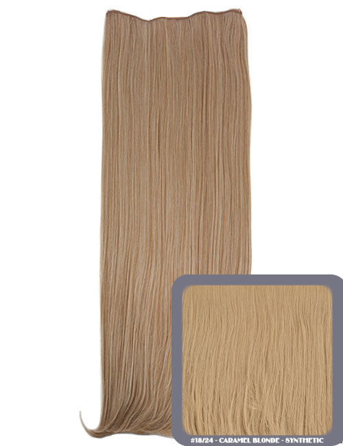 One Piece Straight Heat Resistant 24 Inch Synthetic Hair Extension Caramel Blonde (#18/24)