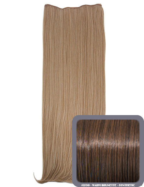 One Piece Straight Heat Resistant 24 Inch Synthetic Hair Extension Warm Brunette (#2/30)