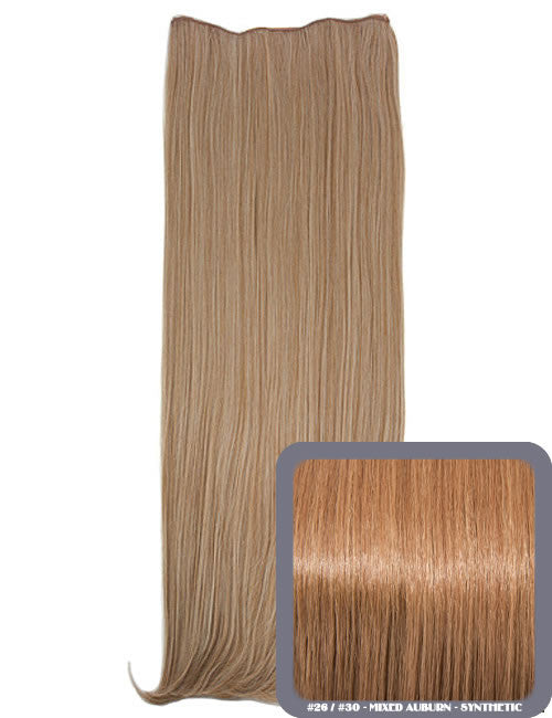 One Piece Straight Heat Resistant 24 Inch Synthetic Hair Extension Mixed Auburn (#26/30)