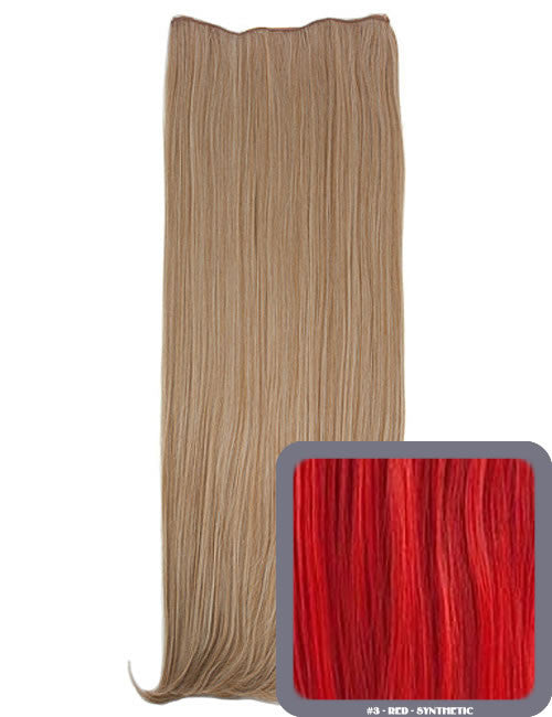 One Piece Straight Heat Resistant 24 Inch Synthetic Hair Extension Red