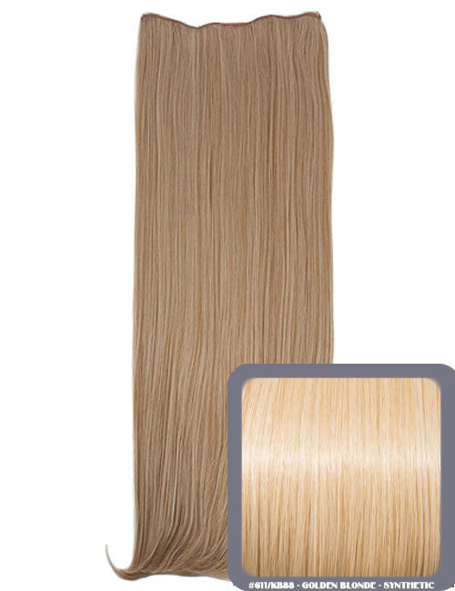 One Piece Straight Heat Resistant 24 Inch Synthetic Hair Extension Golden Blonde (#611/KB88)