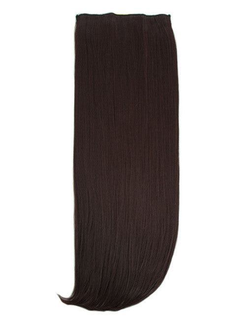 One Piece Straight Heat Resistant 24 Inch Synthetic Hair Extension Darkest Brown (#2)