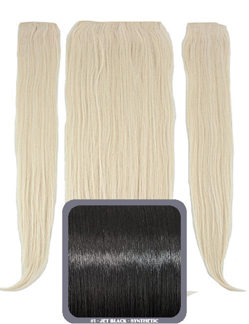 "24"" Half Head Straight Heat Resistant Synthetic Clip In Hair Extensions In Jet Black #1"