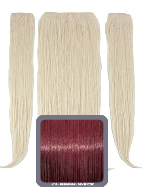 "24"" Half Head Straight Heat Resistant Synthetic Clip In Hair Extensions In Burgundy #118"