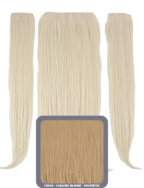 "24"" Half Head Straight Heat Resistant Synthetic Clip In Hair Extensions In Honey Blonde #27/613"