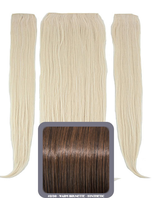 "24"" Half Head Straight Heat Resistant Synthetic Clip In Hair Extensions In Warm Brunette #2/30"