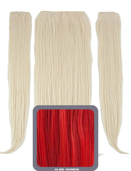"24"" Half Head Straight Heat Resistant Synthetic Clip In Hair Extensions In Red"