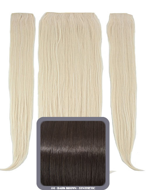 "24"" Half Head Straight Heat Resistant Synthetic Clip In Hair Extensions In Dark Brown"