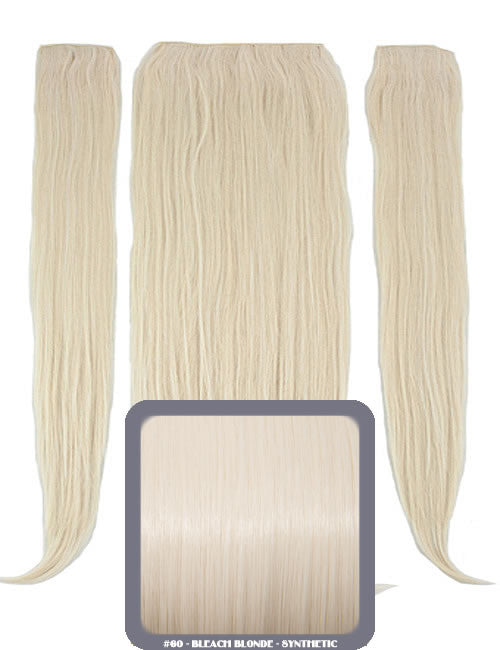 "24"" Half Head Straight Heat Resistant Synthetic Clip In Hair Extensions In Bleach Blonde #60"