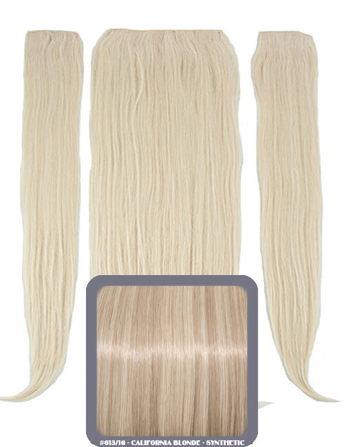 "24"" Half Head Straight Heat Resistant Synthetic Clip In Hair Extensions In California Blonde #613/16"