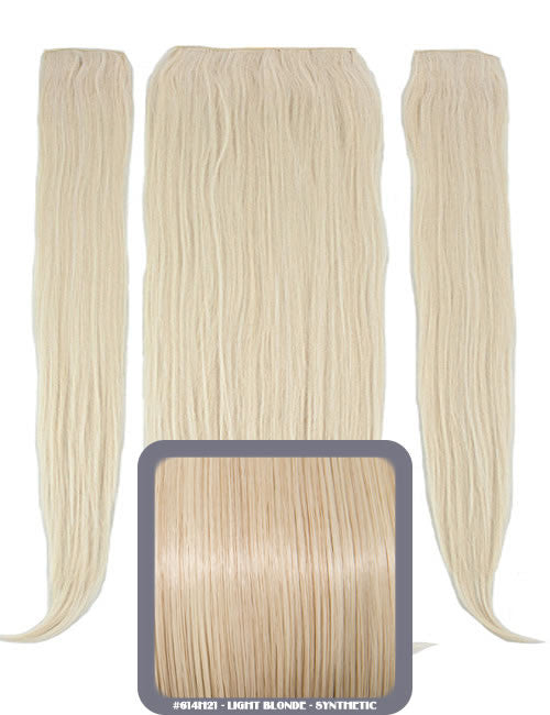 "24"" Half Head Straight Heat Resistant Synthetic Clip In Hair Extensions In Light Blonde #614H21"