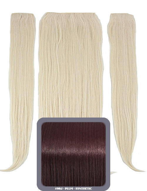 "24"" Half Head Straight Heat Resistant Synthetic Clip In Hair Extensions In Plum #99J"