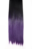 Half Head Dip Dye Straight Heat Resistant Synthetic Hair Extensions Natural Black / Purple #1BTTPurple - Dolled Up Hair Extensions