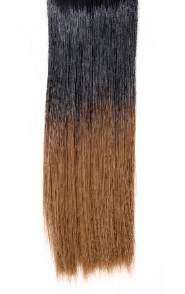 Half Head Dip Dye Straight Heat Resistant Synthetic Hair Extensions Darkest Brown/Strawberry Blonde #2TT27