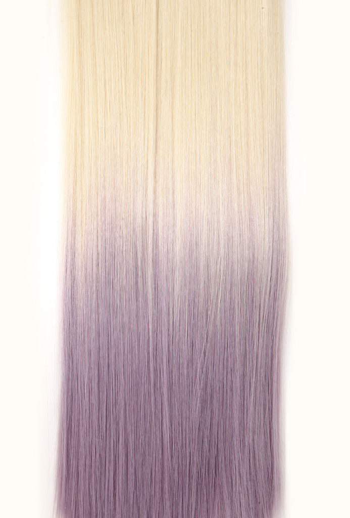Half Head Dip Dye Straight Heat Resistant Synthetic Hair Extensions Pure Blonde / Pastel Purple #613TTPastelPurple