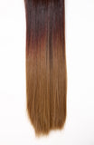 Half Head Dip Dye Straight Heat Resistant Synthetic Hair Extensions Chocolate Brown / Scarlet / Strawberry Blonde #6TT35/27 - Dolled Up Hair Extensions - 1