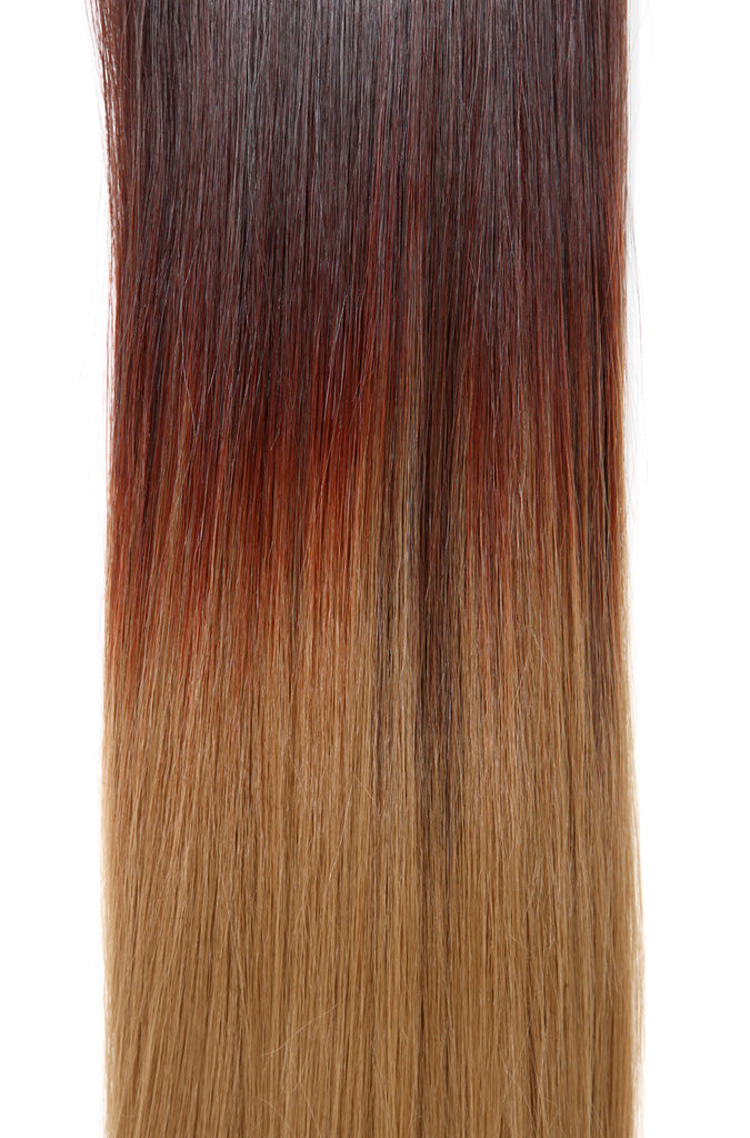 Half Head Dip Dye Straight Heat Resistant Synthetic Hair Extensions Chocolate Brown / Scarlet / Strawberry Blonde #6TT35/27