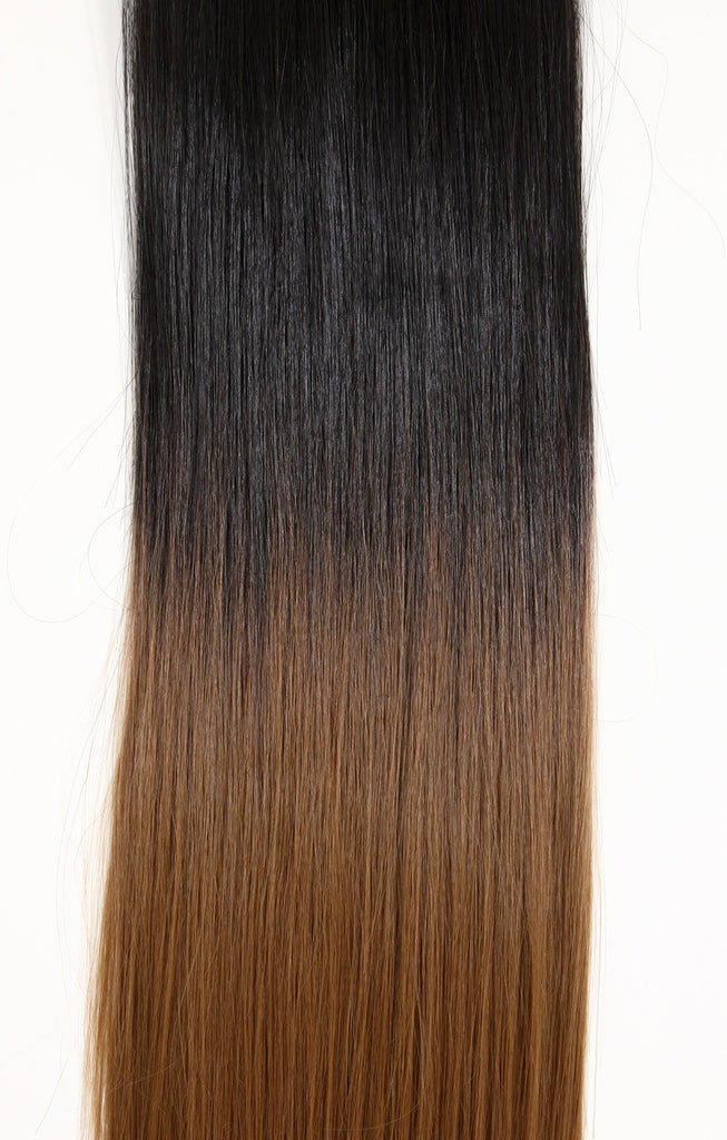 Half Head Dip Dye Straight Heat Resistant Synthetic Hair Extensions Dark Brown / Strawberry Blonde #4TT27